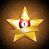 Bingo ball crown over gold star with banner