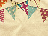 Vintage bunting over crumpled material