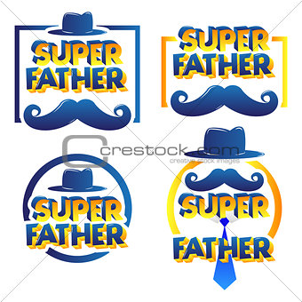 Greeting card set with Super Father text.
