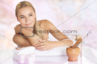Beautiful woman enjoying spa
