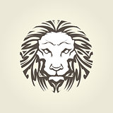 Lion's head in tattoo style - muzzle front view