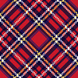 Diagonal seamless checkered pattern in red and blue