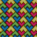 Knitting seamless patchwork heart pattern