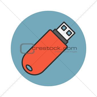 Flash drive flat line icon