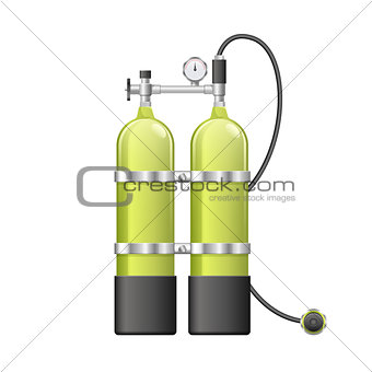 Aqualang or Scuba Oxygen Balloons. Vector illustration of yellow Diving Equipment. Underwater sport item