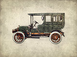 Vintage retro car hatching hand drawing. Green antique automobil