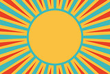 sun red yellow blue background pop art retro