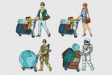 Set travelers man woman soldier and astronaut