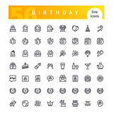 Birthday Line Icons Set