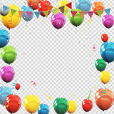 Group of Colour Glossy Helium Balloons Isolated on Transperent