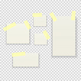 Sticky Paper Notes Pack Collection Set on Transparent Background  Vector Illustration