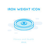 Iron weight icon isolated on white.