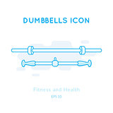 Dumbbell icons isolated on white.