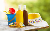 Baby sunscreen and beach accessories