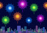 City Landscape with Fireworks