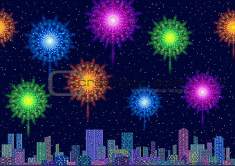 City Landscape with Fireworks