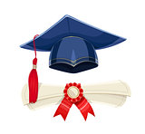 Blue academicic graduation cap and diploma scroll