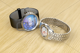 Smart and mechanical wrist watches