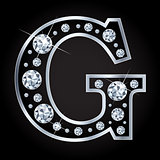G vector letter made with diamonds isolated on black background
