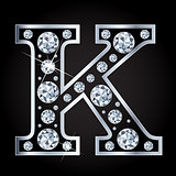 K vector letter made with diamonds isolated on black background