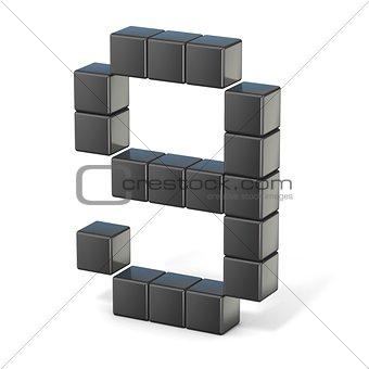 8 bit font. Number 9. 3D
