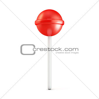 Single red lollipop. 3D