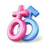 Pink female and blue male sex symbols. Mars and Venus symbols. 3