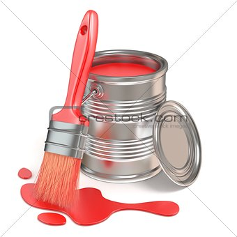 Paint bucket, paintbrush and red stain. 3D