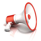 Red and white megaphone, 3D