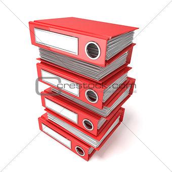 Batch of binders, red office folders. 3D