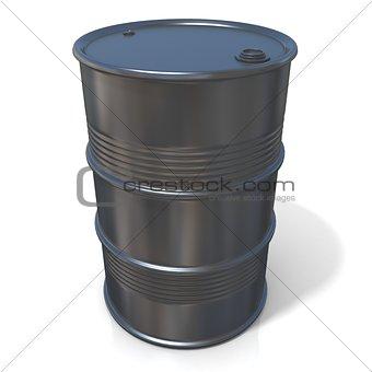 3D illustration of black oil barrel