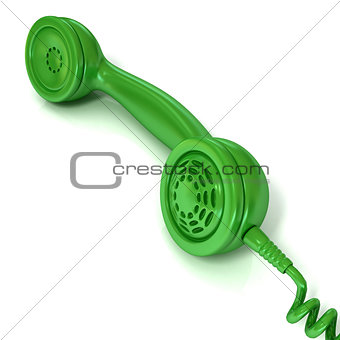 Green telephone handset, retro illustration for design