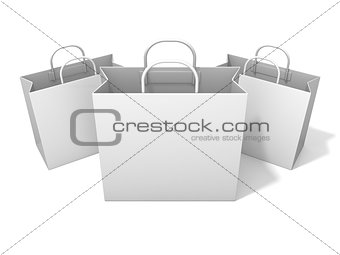 Three empty shopping paper bag