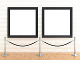 Two blank picture frame on brick wall, with stand rope barriers,