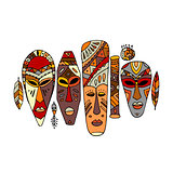 Tribal mask ethnic set, sketch for your design