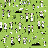 Family set, seamless pattern design