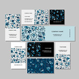 Business cards design, russian gzhel ornament