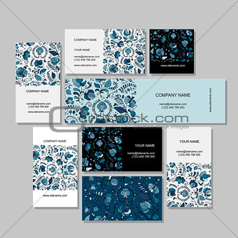 Business cards design, russian gzhel ornament