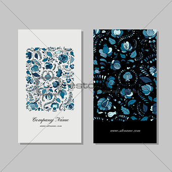 Business card design, russian gzhel ornament