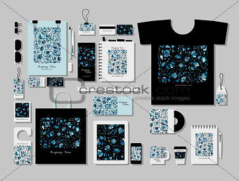 Corporate flat mock-up template, russian gzhel ornament