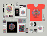 Corporate flat mock-up template, abstract circles design