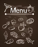vector food menu elements on chalk board set