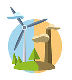 concept illustration with icon of green energy
