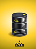 Vector realistic black metal oil barrel