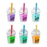 Bubble Tea or Milk Cocktail Set Isolated on white background.