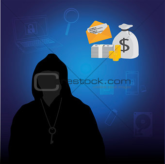 Business data has been encrypted. vector illustration.