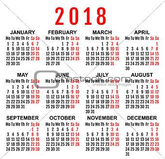 2018 year wall calendar grid template
