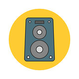 Music speaker flat line icon