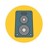 Music speaker flat line icon