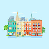 City view on light blue background